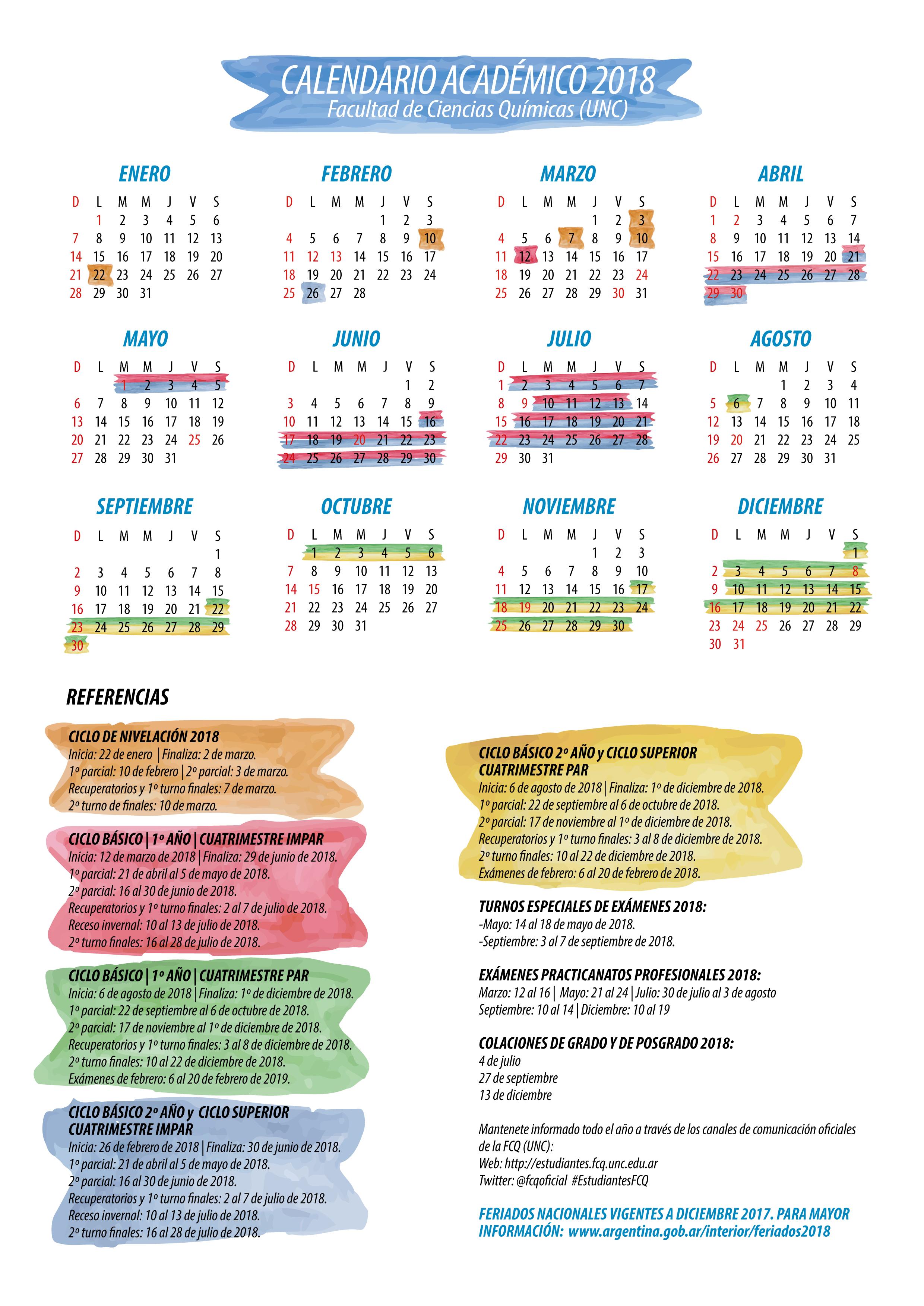 est u00e1 disponible el calendario acad u00e9mico 2018